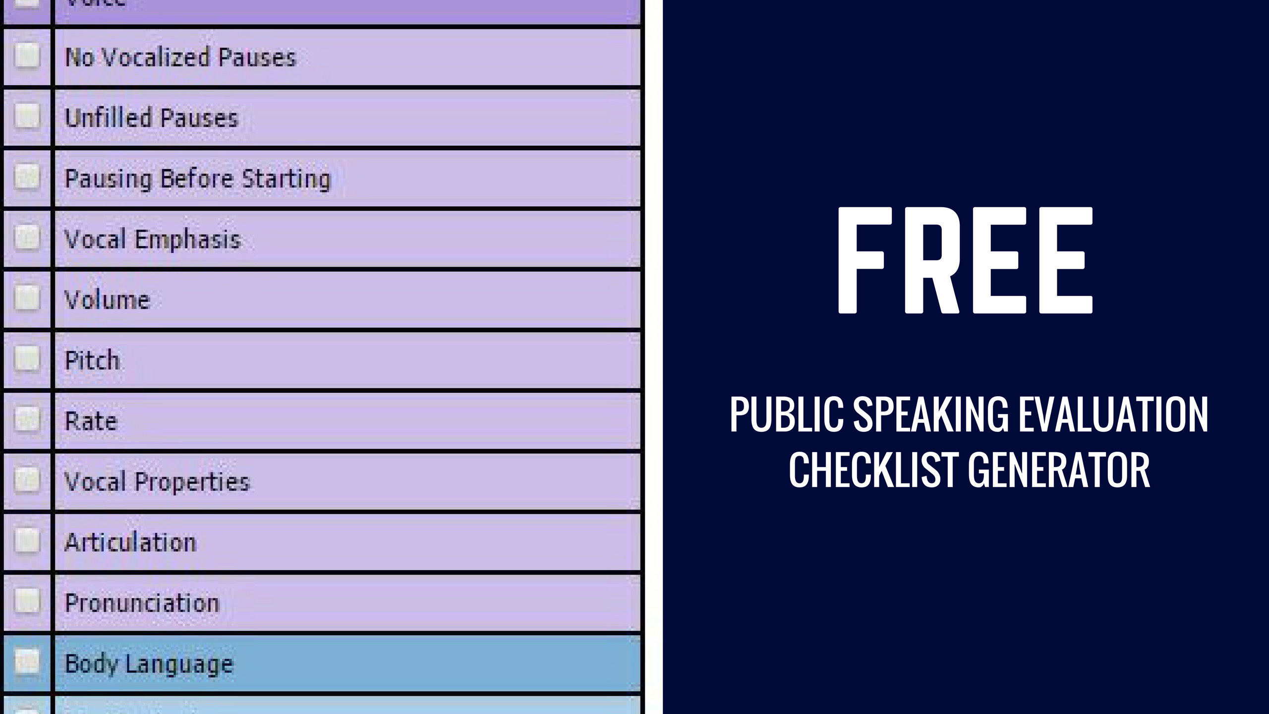 Quotes Generator Evaluating Your Speech Public Speaking Evaluation Checklist Generator